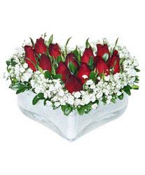 Afyon internetten çiçek siparişi  mika kalp içerisinde 9 adet kirmizi gül