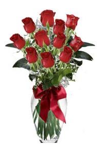 11 adet kirmizi gül vazo mika vazo içinde  Afyon 14 şubat sevgililer günü çiçek
