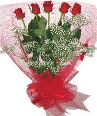 5 adet kirmizi gülden buket tanzimi  Afyon çiçek yolla