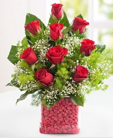 Cam içerisinde 9 adet kırmızı gül  Afyon internetten çiçek satışı