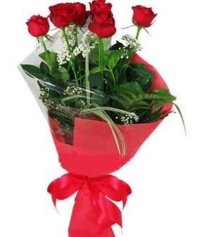 5 adet kırmızı gülden buket  Afyon kaliteli taze ve ucuz çiçekler