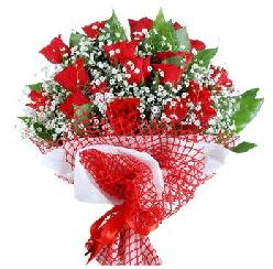 11 kırmızı gülden buket  Afyon 14 şubat sevgililer günü çiçek