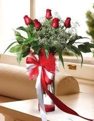 Camda 5 kırmızı gül tanzimi  Afyon çiçekçi telefonları