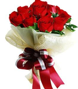 9 adet kırmızı gülden buket tanzimi  Afyon çiçek gönderme sitemiz güvenlidir