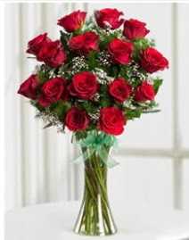 Cam vazo içerisinde 11 kırmızı gül vazosu  Afyon anneler günü çiçek yolla