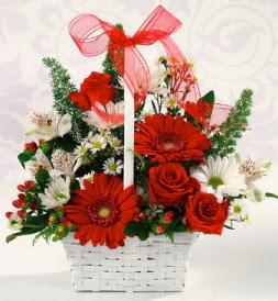 Karışık rengarenk mevsim çiçek sepeti  Afyon internetten çiçek siparişi