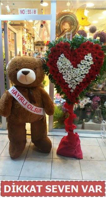 1.5 Metre peluş ayı ve Kalp  Afyon çiçek gönderme sitemiz güvenlidir