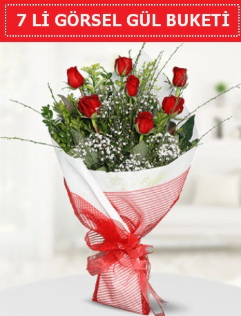 7 adet kırmızı gül buketi Aşk budur  Afyon çiçek satışı