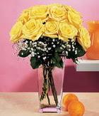 Afyon internetten çiçek satışı  9 adet sari güllerden cam yada mika vazo