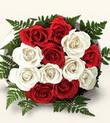 Afyon çiçek , çiçekçi , çiçekçilik  10 adet kirmizi beyaz güller - anneler günü için ideal seçimdir -