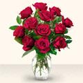 Afyon çiçek yolla  10 adet gül cam yada mika vazo da