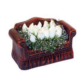 seramik içerisinde 11 gül  Afyon hediye çiçek yolla
