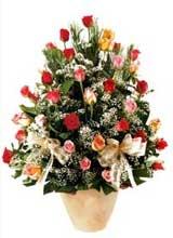91 adet renkli gül aranjman   Afyon çiçek gönderme sitemiz güvenlidir