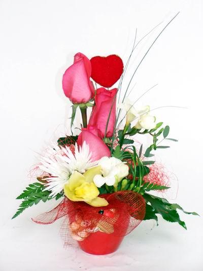 Afyon ucuz çiçek gönder  cam içerisinde 3 adet gül ve kir çiçekleri
