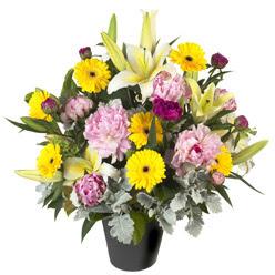 karisik mevsim çiçeklerinden vazo tanzimi  Afyon uluslararası çiçek gönderme