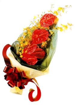 özel 5 adet antorium buketi   Afyon çiçek gönderme sitemiz güvenlidir