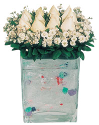 Afyon çiçekçi mağazası  7 adet beyaz gül cam yada mika vazo tanzim