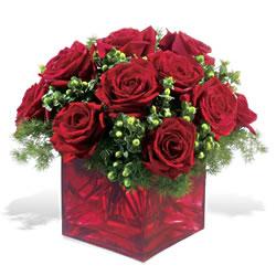 Afyon çiçek yolla  9 adet kirmizi gül cam yada mika vazoda