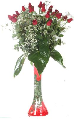 Afyon uluslararası çiçek gönderme  19 ADET GÜL VE FIL CAM AYAGI