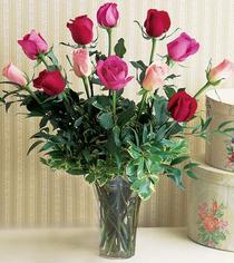Afyon çiçek mağazası , çiçekçi adresleri  12 adet karisik renkte gül cam yada mika vazoda