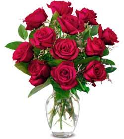 Afyon online çiçek gönderme sipariş  1 düzine kirmizi gül sevenlere özel vazo gülleri