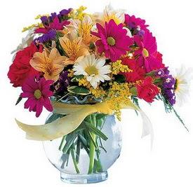Afyon internetten çiçek satışı  cam yada mika içerisinde karisik mevsim çiçekleri