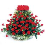 Afyon kaliteli taze ve ucuz çiçekler  41 adet kirmizi gülden sepet tanzimi
