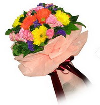 Afyon çiçekçi mağazası  Karisik mevsim çiçeklerinden demet