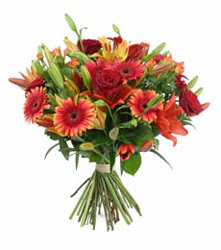 Afyon çiçek gönderme  3 adet kirmizi gül ve karisik kir çiçekleri demeti