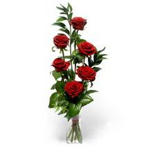 Afyon çiçek siparişi sitesi  cam yada mika vazo içerisinde 6 adet kirmizi gül