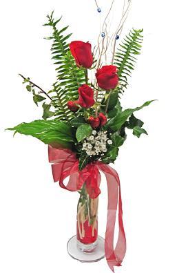 Çiçek gönderin cam vazoda 3 gül çiçekleri  Afyon çiçek siparişi sitesi