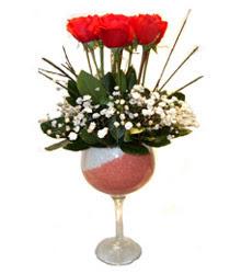 Afyon çiçekçiler  cam kadeh içinde 7 adet kirmizi gül çiçek
