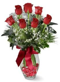 7 adet vazoda gül  Afyon internetten çiçek satışı  kirmizi gül