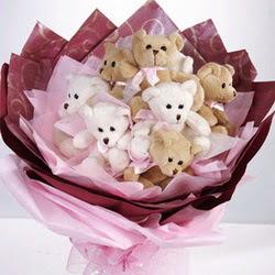 9 adet ayiciktan buket  Afyon internetten çiçek siparişi