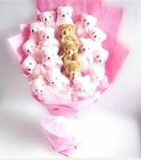 17 adet pelus ayicik buketi  Afyon İnternetten çiçek siparişi
