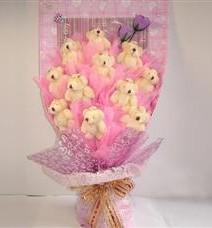 11 adet pelus ayicik buketi  Afyon çiçek yolla
