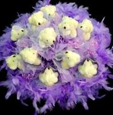 11 adet pelus ayicik buketi  Afyon çiçek , çiçekçi , çiçekçilik