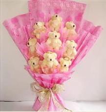 9 adet pelus ayicik buketi  Afyon anneler günü çiçek yolla