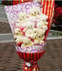 11 adet pelus ayicik buketi  Afyon ucuz çiçek gönder