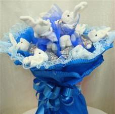 7 adet pelus ayicik buketi  Afyon çiçek , çiçekçi , çiçekçilik