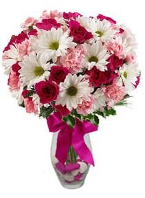 Afyon çiçek siparişi sitesi  Karisik mevsim kir çiçegi vazosu