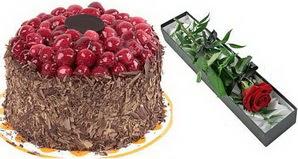 1 adet yas pasta ve 1 adet kutu gül  Afyon uluslararası çiçek gönderme