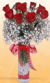 9 adet kirmizi gül cam yada mika vazoda  Afyon çiçek mağazası , çiçekçi adresleri