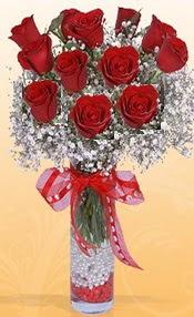 10 adet kirmizi gülden vazo tanzimi  Afyon çiçek siparişi sitesi