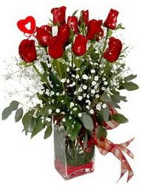 Afyon çiçek siparişi vermek  9 adet mika yada cam vazoda gül tanzimi kalp çubuk