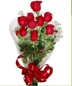 Afyon uluslararası çiçek gönderme  10 adet kırmızı gülden görsel buket