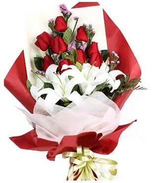 Afyon çiçekçiler  1 dal kazablankaa 9 adet kırmızı gül buketi