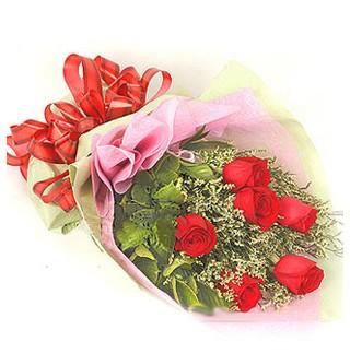 Afyon çiçek , çiçekçi , çiçekçilik  6 adet kırmızı gülden buket