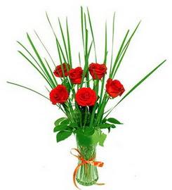 Afyon çiçek , çiçekçi , çiçekçilik  6 adet kırmızı güllerden vazo çiçeği