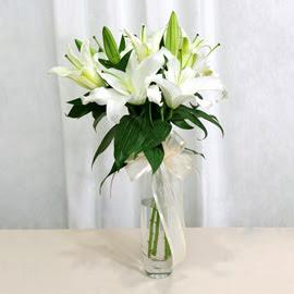 Afyon anneler günü çiçek yolla  2 dal kazablanka ile yapılmış vazo çiçeği